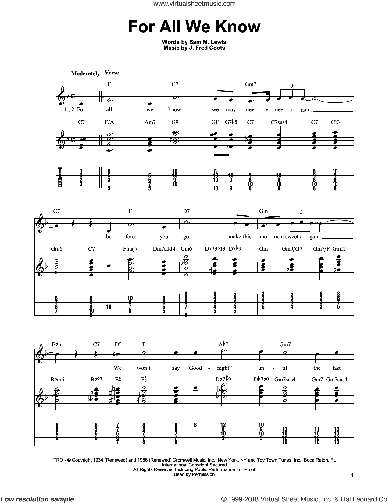 For All We Know sheet music for guitar solo (easy tablature) by J. Fred Coots