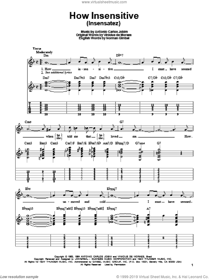 How Insensitive (Insensatez) sheet music for guitar solo (easy tablature) by Antonio Carlos Jobim, Norman Gimbel and Vinicius de Moraes, easy guitar (easy tablature)