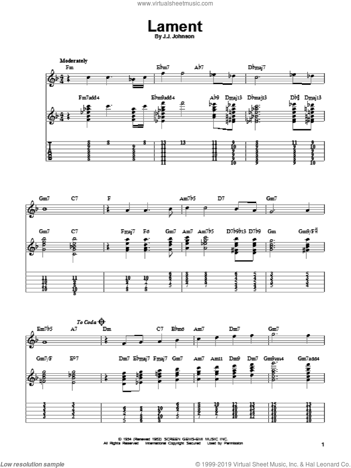 Lament sheet music for guitar solo (easy tablature) by Jack Johnson, easy guitar (easy tablature)