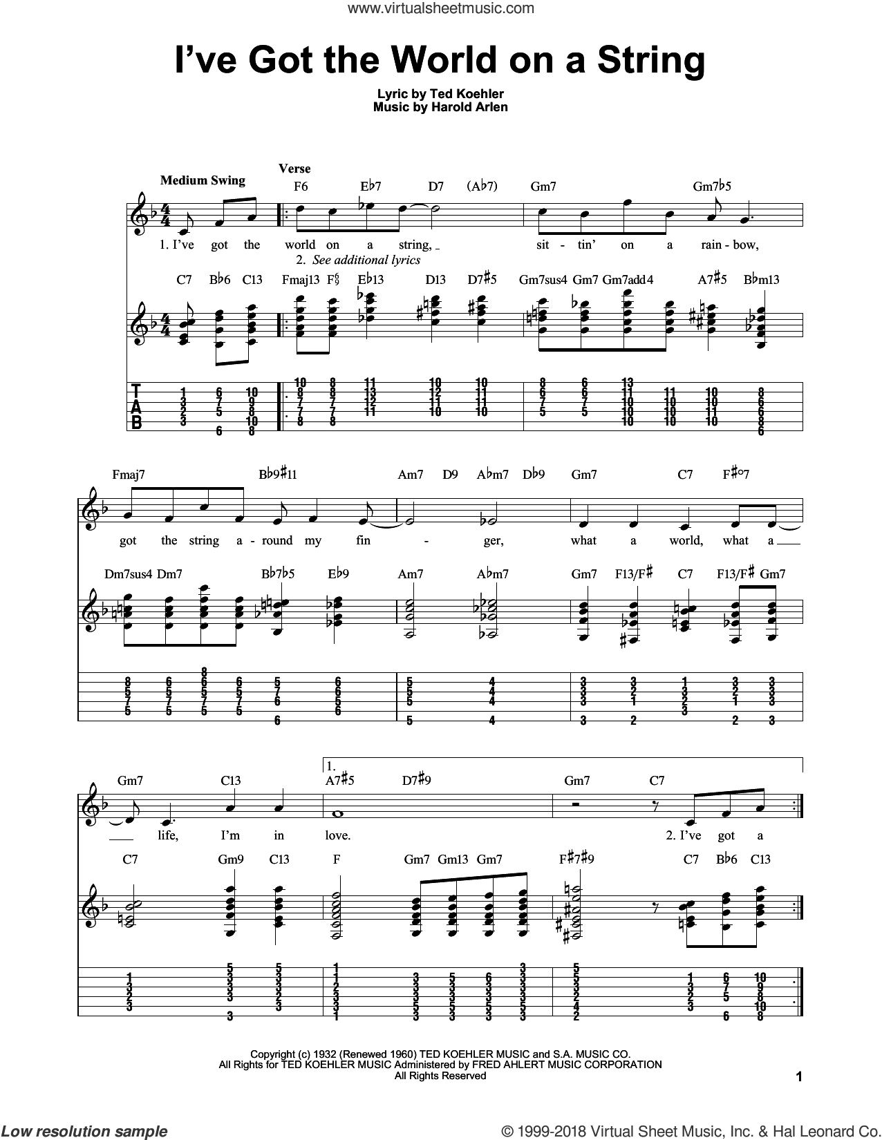 I've Got The World On A String sheet music for guitar solo (easy tablature) by Harold Arlen and Ted Koehler, easy guitar (easy tablature)