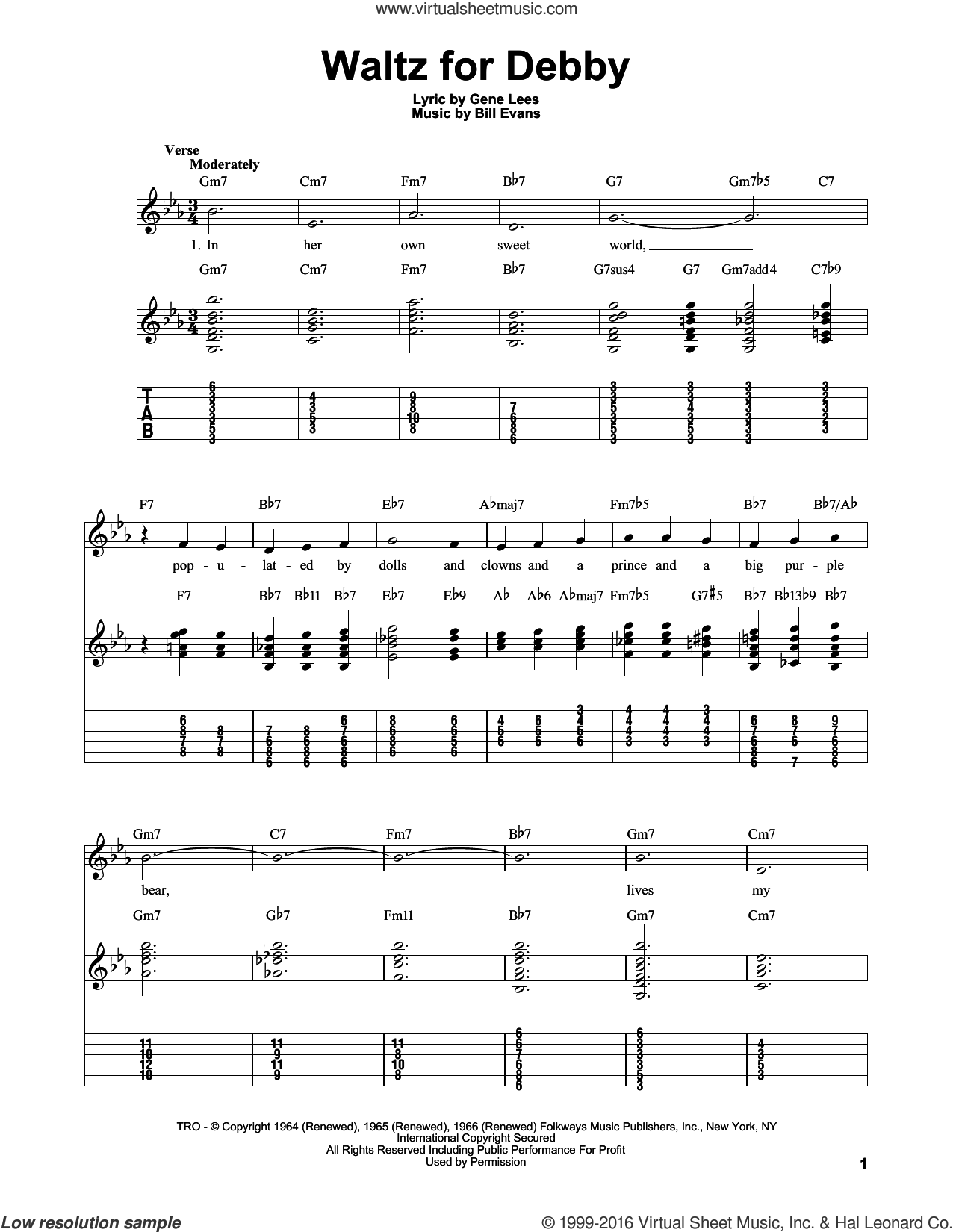 Waltz For Debby sheet music for guitar solo (easy tablature) by Bill Evans and Eugene John Lees, easy guitar (easy tablature)