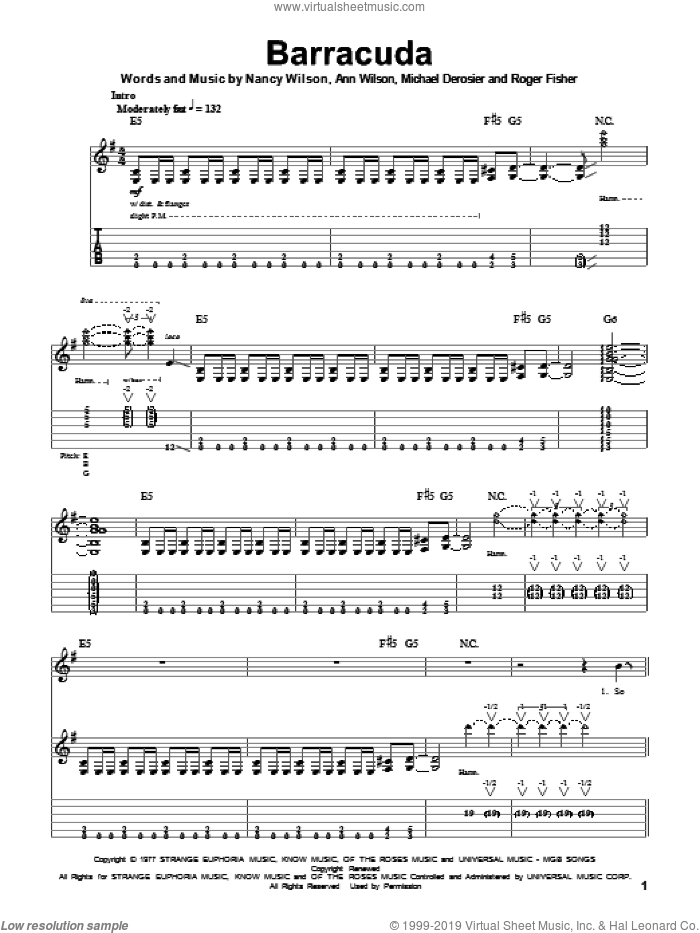 Barracuda sheet music for guitar (tablature, play-along) by Roger Fisher, Heart, Ann Wilson and Nancy Wilson. Score Image Preview.