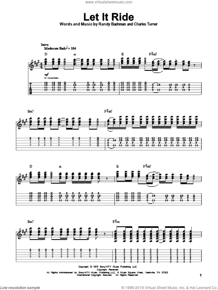 Let It Ride sheet music for guitar (tablature, play-along) by Bachman-Turner Overdrive, Charles Turner and Randy Bachman, intermediate skill level