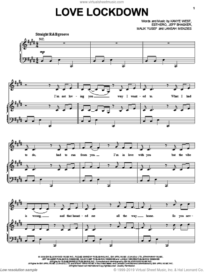 Love Lockdown sheet music for voice, piano or guitar by Kanye West, intermediate skill level