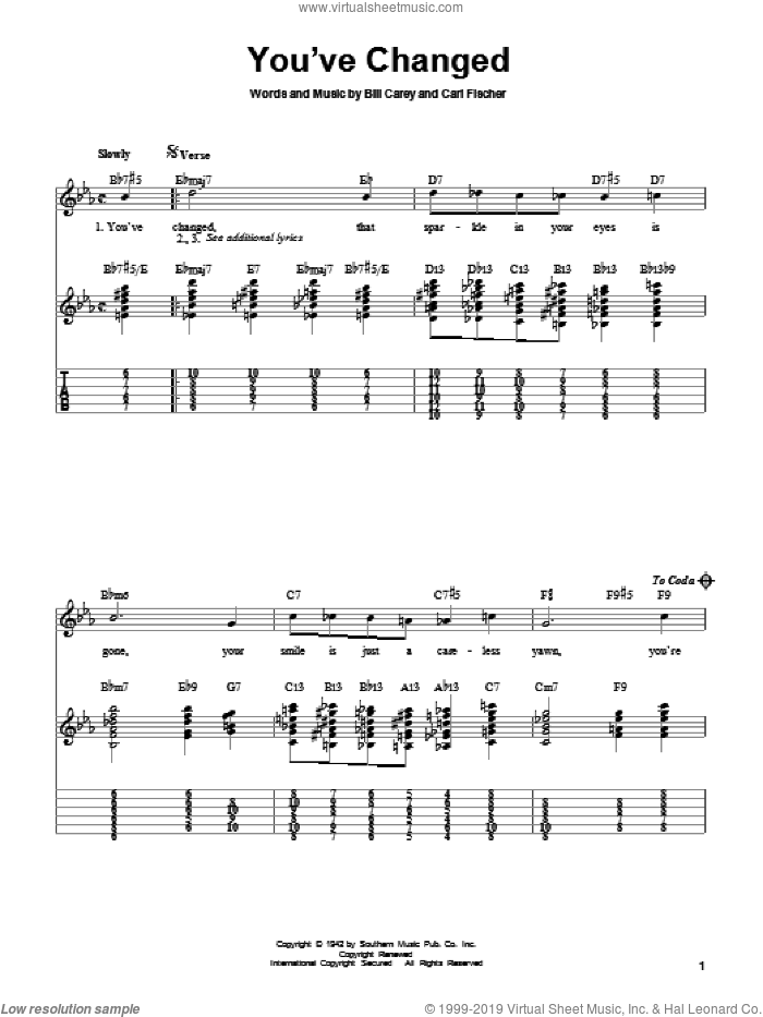 You've Changed sheet music for guitar solo (easy tablature) by Carl Fischer
