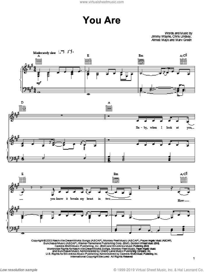 You Are sheet music for voice, piano or guitar by Chris Lindsey, Aimee Mayo and Jimmy Wayne. Score Image Preview.