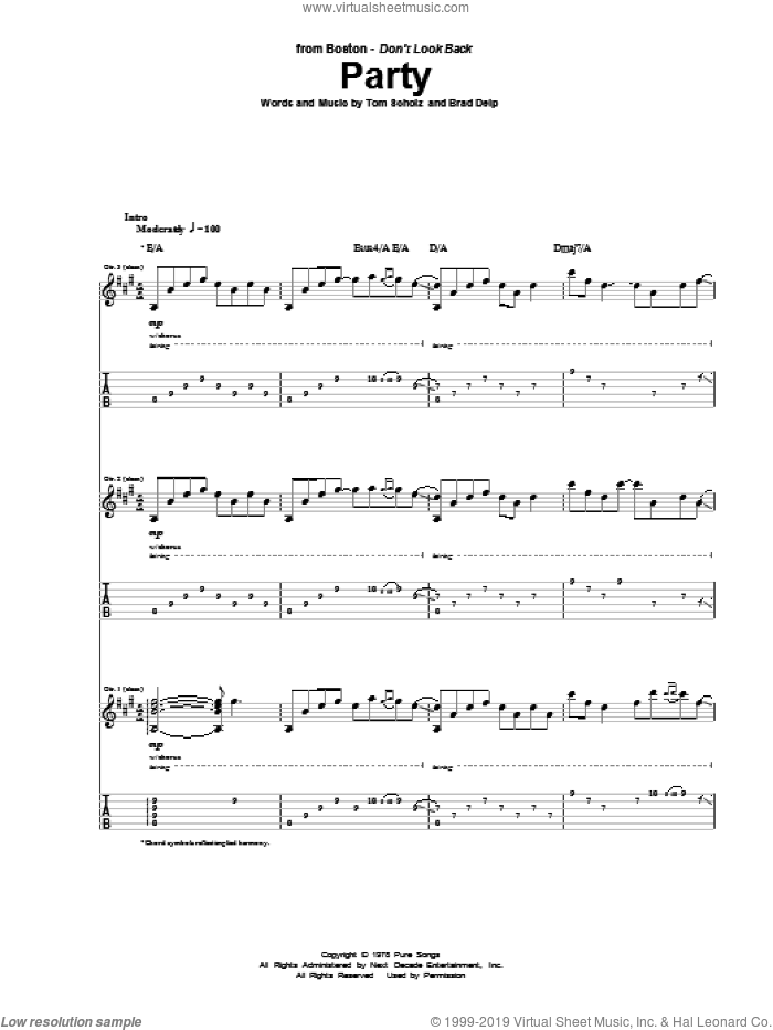 Party sheet music for guitar (tablature) by Boston, Brad Delp and Tom Scholz, intermediate skill level
