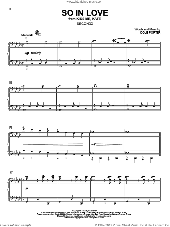 So In Love sheet music for piano four hands by Cole Porter and Kiss Me, Kate (Musical), intermediate