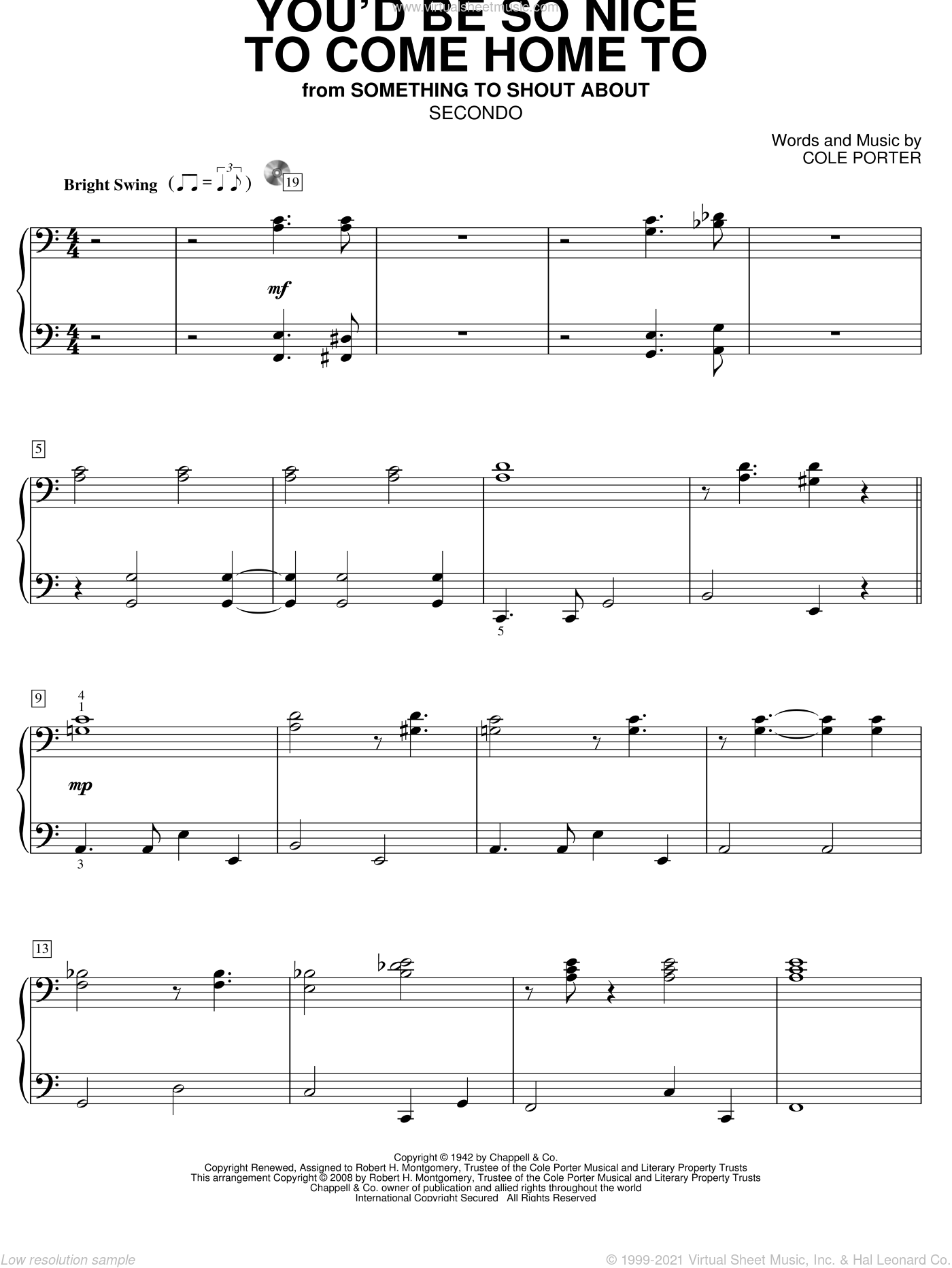 You'd Be So Nice To Come Home To sheet music for piano four hands (duets) by Cole Porter. Score Image Preview.