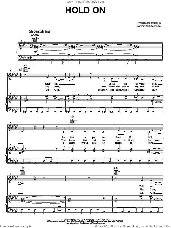 Hold On sheet music for voice, piano or guitar by Sarah McLachlan, intermediate skill level