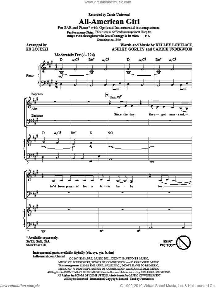 All-American Girl sheet music for choir (SAB: soprano, alto, bass) by Carrie Underwood, Ashley Gorley, Kelley Lovelace and Ed Lojeski, intermediate skill level