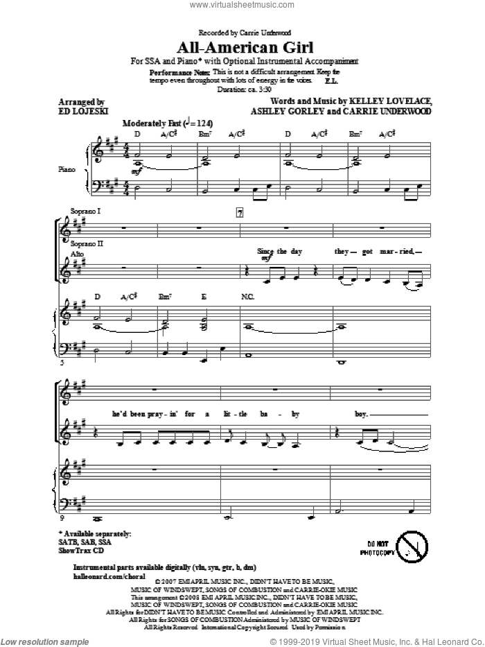 All-American Girl sheet music for choir (soprano voice, alto voice, choir) by Carrie Underwood, Ashley Gorley, Kelley Lovelace and Ed Lojeski. Score Image Preview.