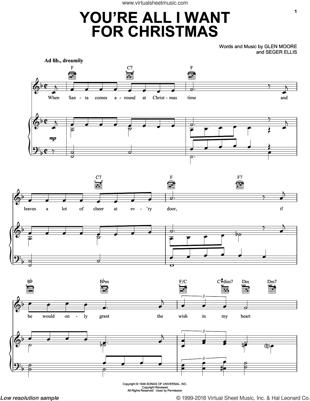 You're All I Want For Christmas sheet music for voice, piano or guitar by Seger Ellis