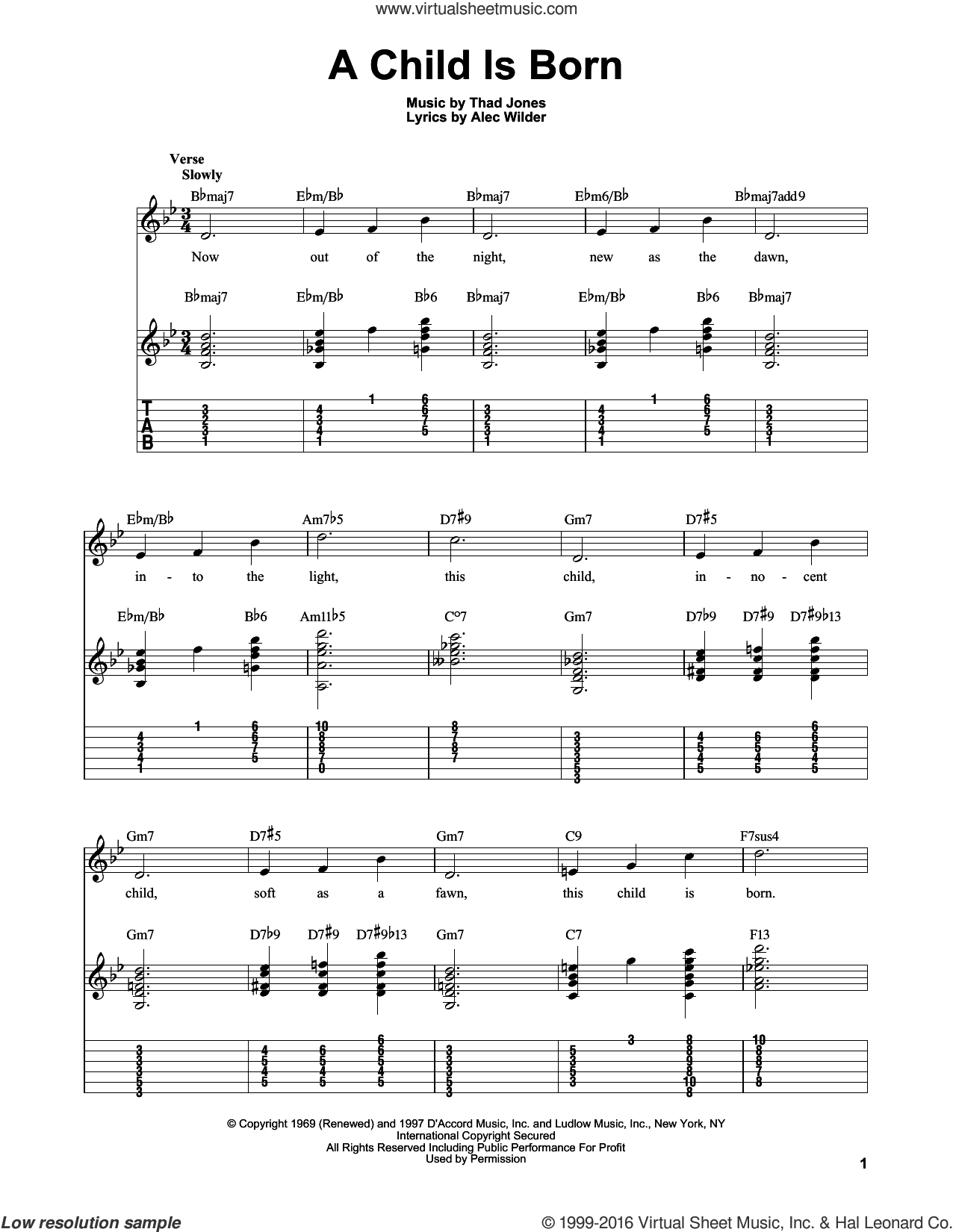 A Child Is Born sheet music for guitar solo (easy tablature) by Thad Jones, Kenny Burrell and Alec Wilder. Score Image Preview.