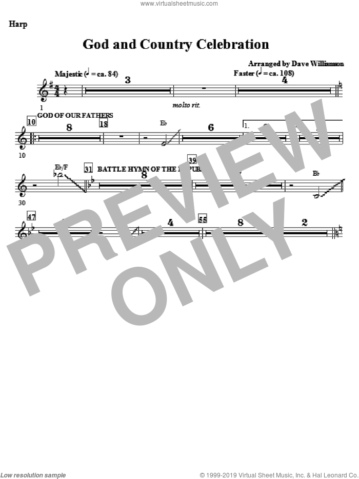 God And Country Celebration (Medley) sheet music for orchestra/band (harp) by Dave Williamson