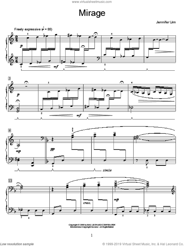 Mirage sheet music for piano solo (elementary) by Jennifer Linn and Miscellaneous, beginner piano (elementary)