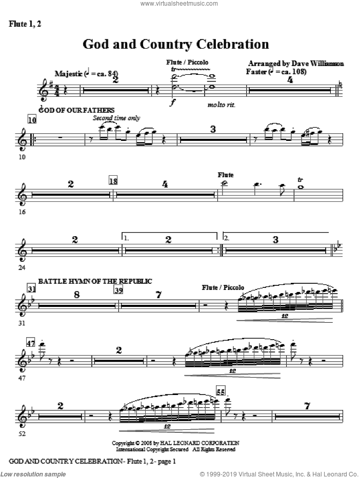 God And Country Celebration (Medley) sheet music for orchestra/band (flute 1,2) by Dave Williamson