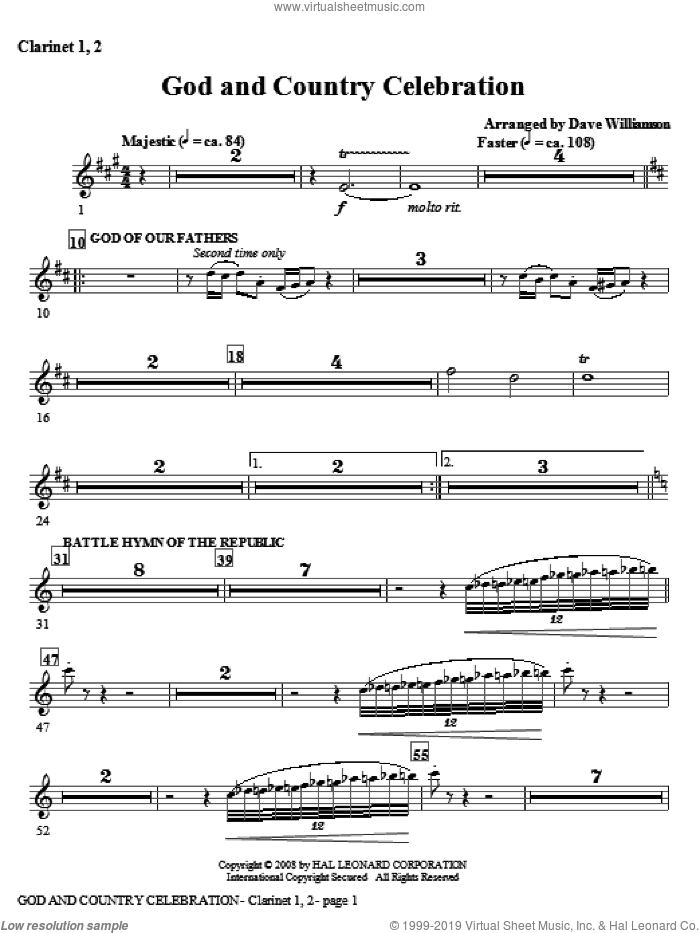 God And Country Celebration (Medley) sheet music for orchestra/band (Bb clarinet 1,2) by Dave Williamson