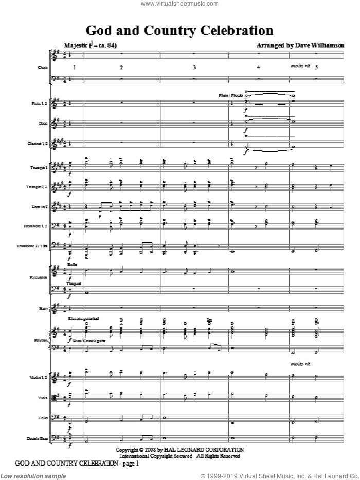 God and Country Celebration (COMPLETE) sheet music for orchestra/band (Orchestra) by Dave Williamson, intermediate. Score Image Preview.