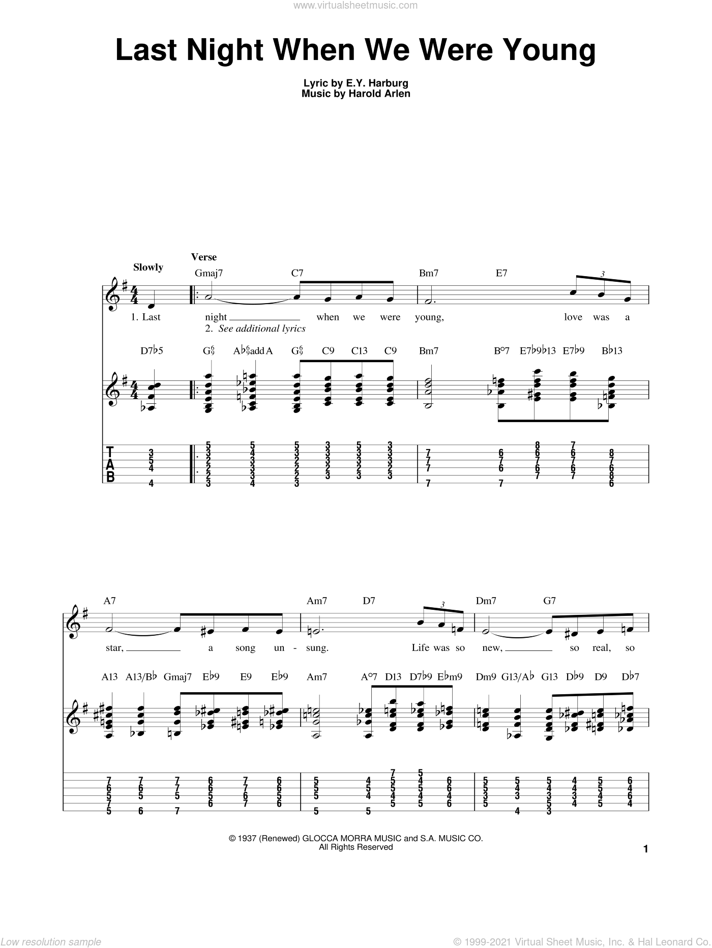 Last Night When We Were Young sheet music for guitar solo (easy tablature) by Kenny Burrell, Frank Sinatra, Judy Garland, E.Y. Harburg and Harold Arlen, easy guitar (easy tablature)
