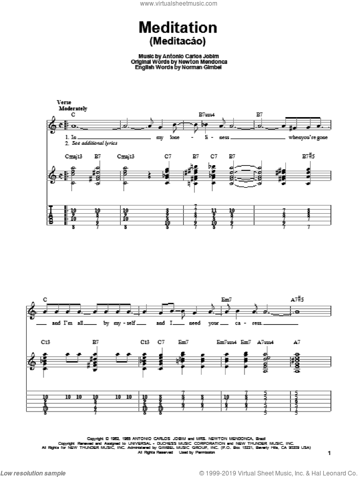 Meditation (Meditacao) sheet music for guitar solo (easy tablature) by Antonio Carlos Jobim, Joe Pass and Norman Gimbel. Score Image Preview.