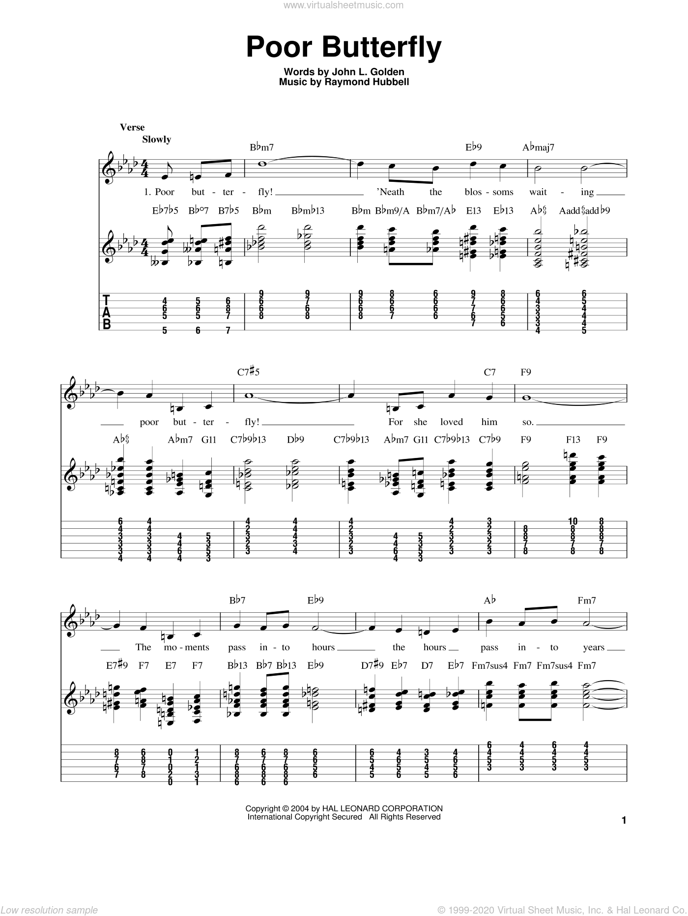 Poor Butterfly sheet music for guitar solo (easy tablature) by Raymond Hubbell, Benny Goodman, Sarah Vaughan and John L. Golden. Score Image Preview.