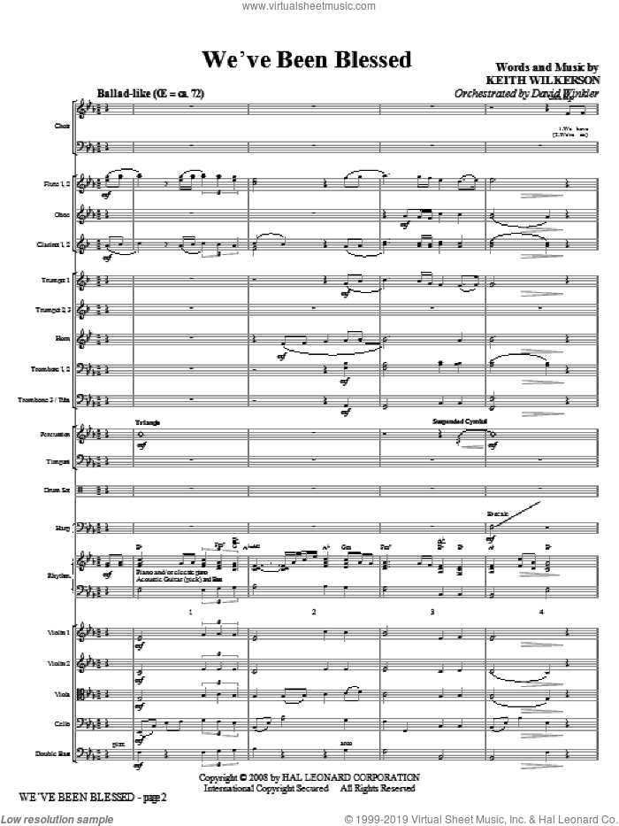 We've Been Blessed (COMPLETE) sheet music for orchestra/band (Orchestra) by Keith Wilkerson, intermediate skill level