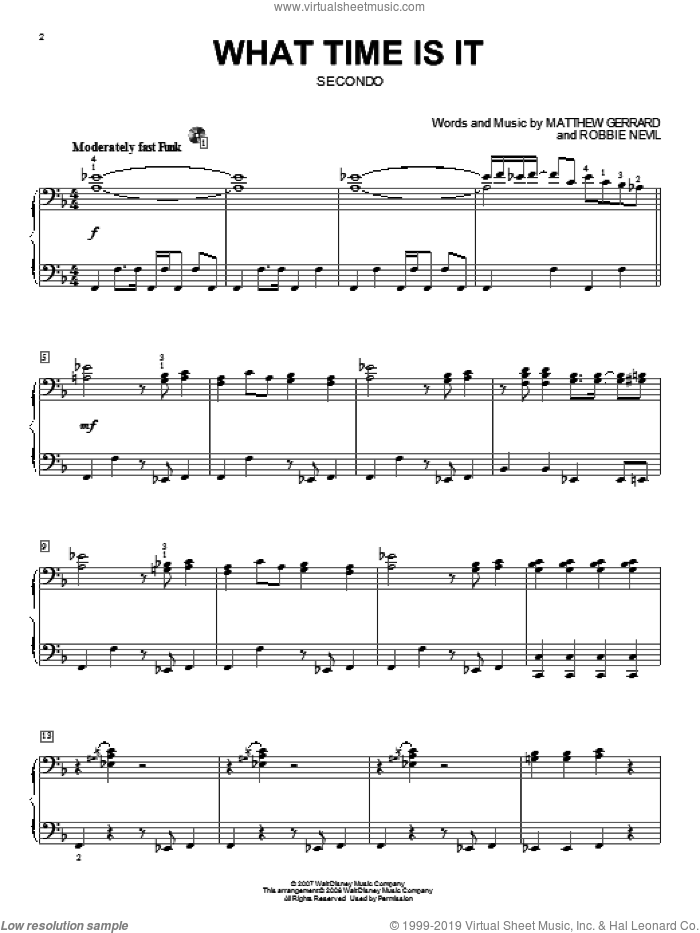 What Time Is It sheet music for piano four hands (duets) by High School Musical 2, Matthew Gerrard and Robbie Nevil, intermediate piano four hands. Score Image Preview.