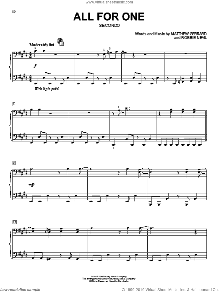 All For One sheet music for piano four hands (duets) by High School Musical 2, Matthew Gerrard and Robbie Nevil, intermediate. Score Image Preview.