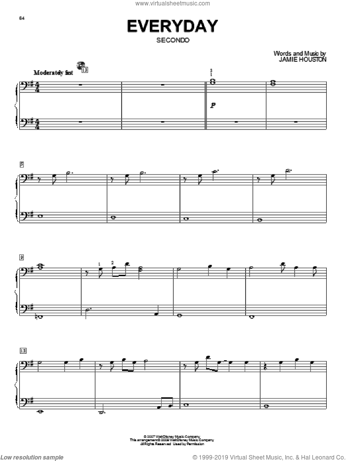 Everyday sheet music for piano four hands (duets) by Jamie Houston and High School Musical 2. Score Image Preview.