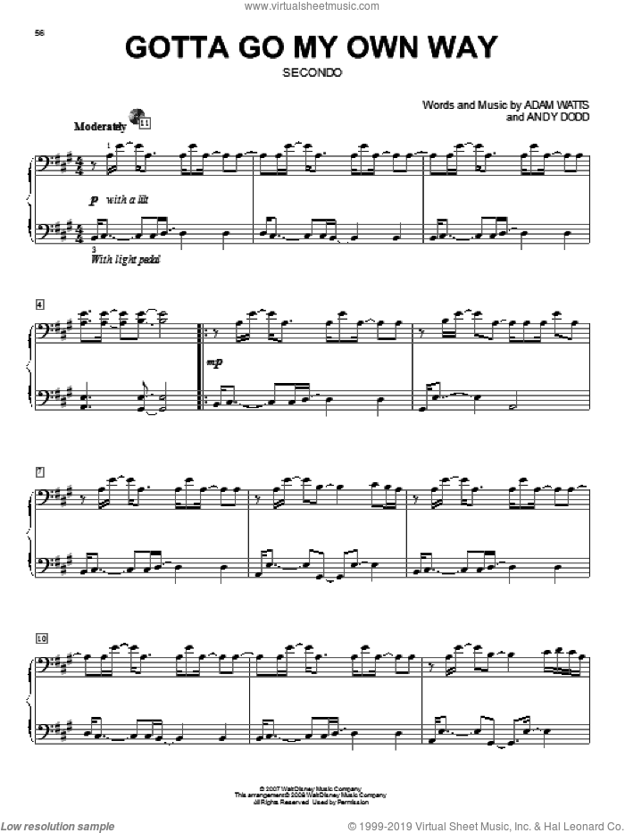 Gotta Go My Own Way sheet music for piano four hands (duets) by High School Musical 2 and Adam Watts. Score Image Preview.