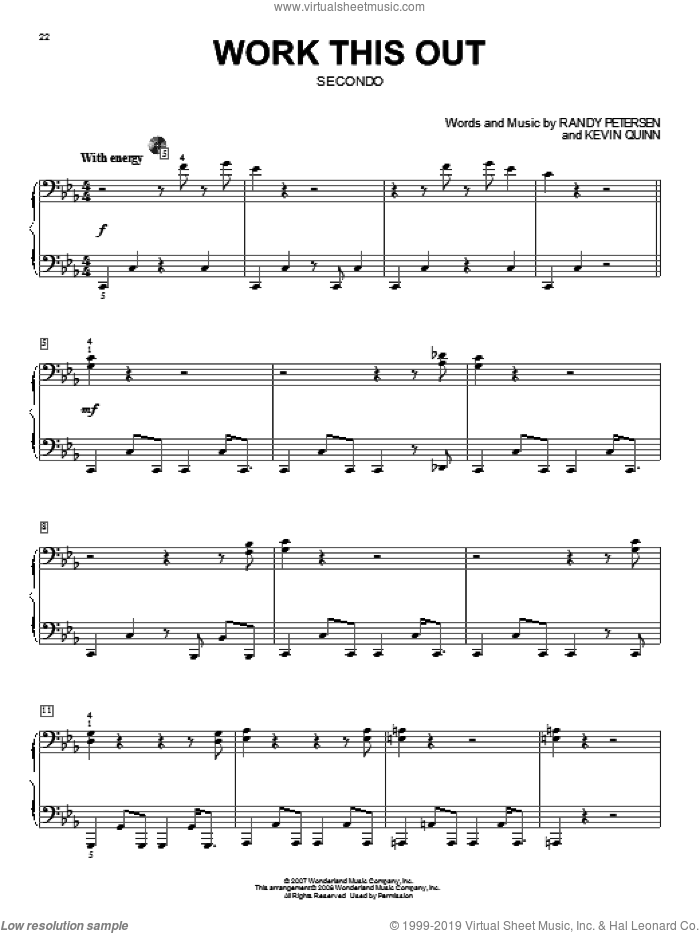 Work This Out sheet music for piano four hands (duets) by Randy Petersen, High School Musical 2 and Kevin Quinn. Score Image Preview.