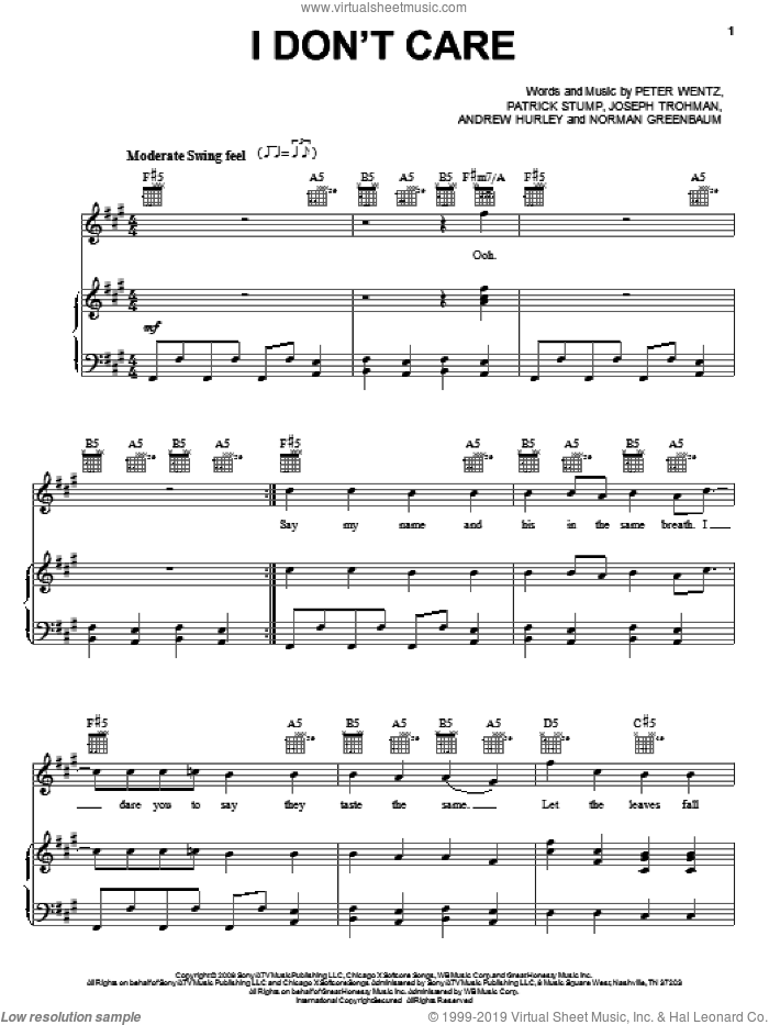 I Don't Care sheet music for voice, piano or guitar by Fall Out Boy, Andrew Hurley, Joseph Trohman, Norman Greenbaum, Patrick Stump and Peter Wentz, intermediate skill level