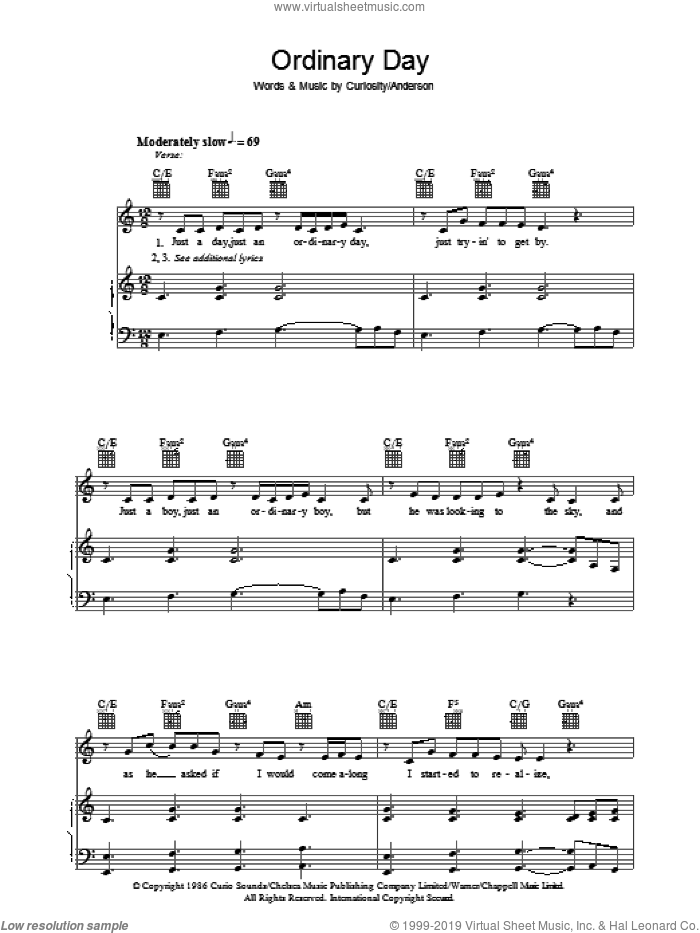 Ordinary Day sheet music for voice, piano or guitar by Vanessa Carlton and Curiosity Killed The Cat