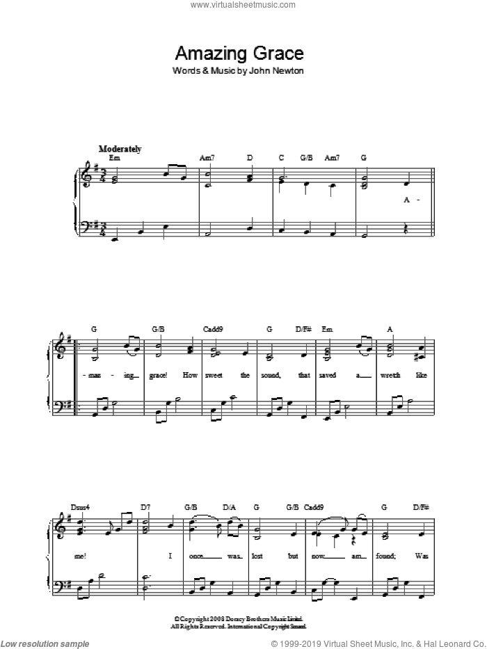Amazing Grace sheet music for piano solo by John Newton, easy skill level