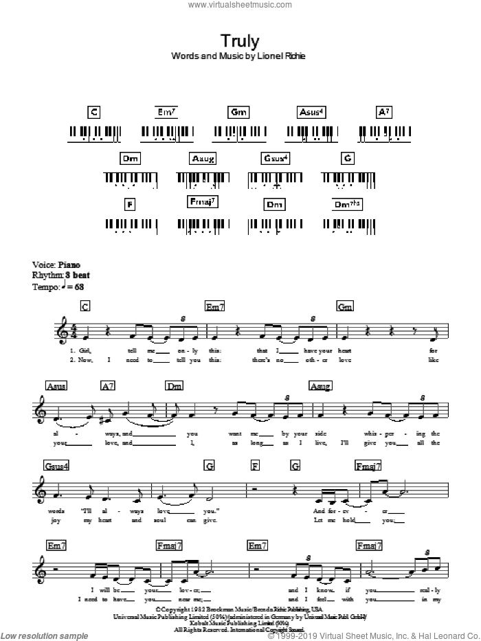 Truly sheet music for piano solo (chords, lyrics, melody) by Lionel Richie. Score Image Preview.