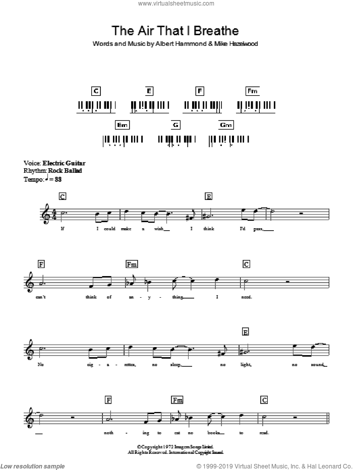 The Air That I Breathe sheet music for piano solo (chords, lyrics, melody) by The Hollies, Albert Hammond and Michael Hazlewood, intermediate piano (chords, lyrics, melody). Score Image Preview.