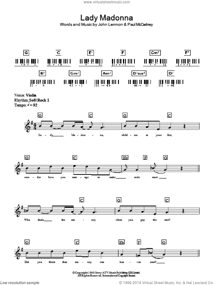 Lady Madonna sheet music for piano solo (chords, lyrics, melody) by Paul McCartney, The Beatles and John Lennon. Score Image Preview.