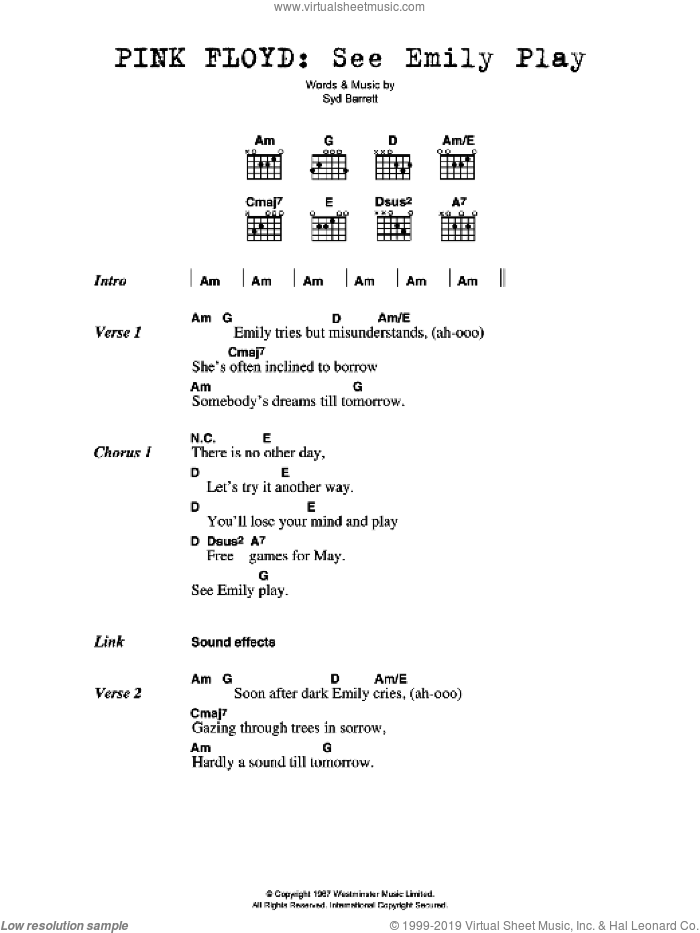 See Emily Play sheet music for guitar (chords) by Syd Barrett