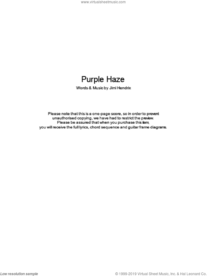 Purple Haze sheet music for guitar (chords) by Jimi Hendrix. Score Image Preview.