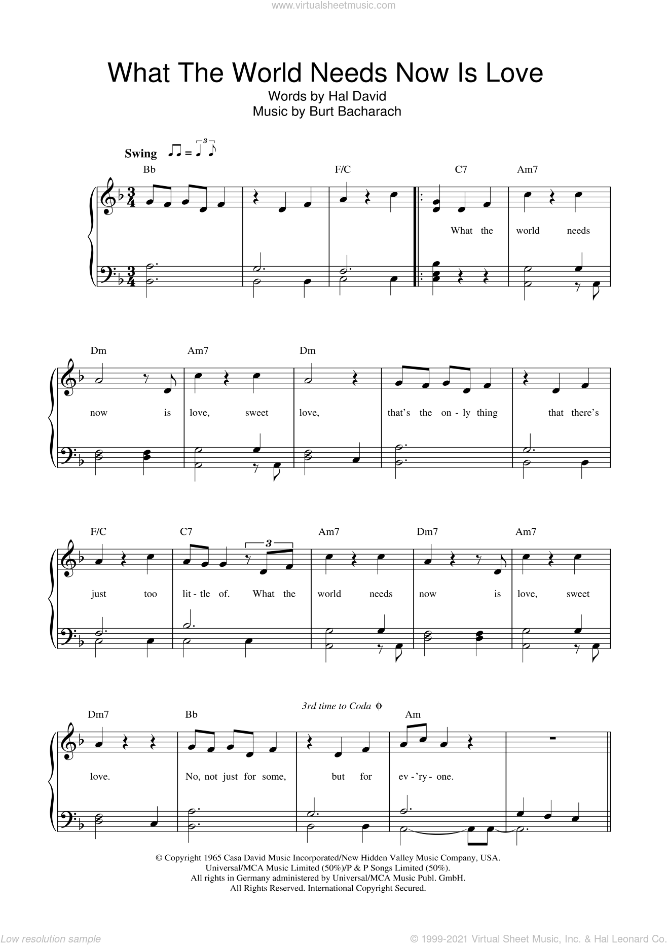 What The World Needs Now Is Love sheet music for piano solo by Bacharach & David, Burt Bacharach and Hal David. Score Image Preview.