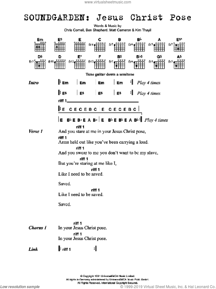 Jesus Christ Pose sheet music for guitar (chords) by Ben Shepherd