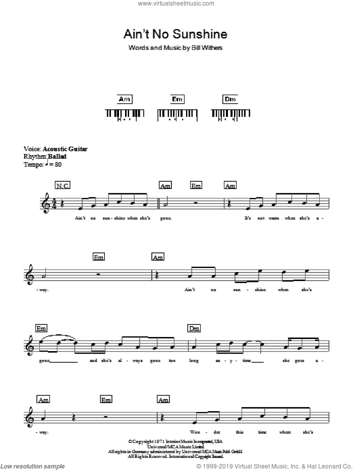 Ain't No Sunshine sheet music for piano solo (chords, lyrics, melody) by Bill Withers, intermediate piano (chords, lyrics, melody). Score Image Preview.