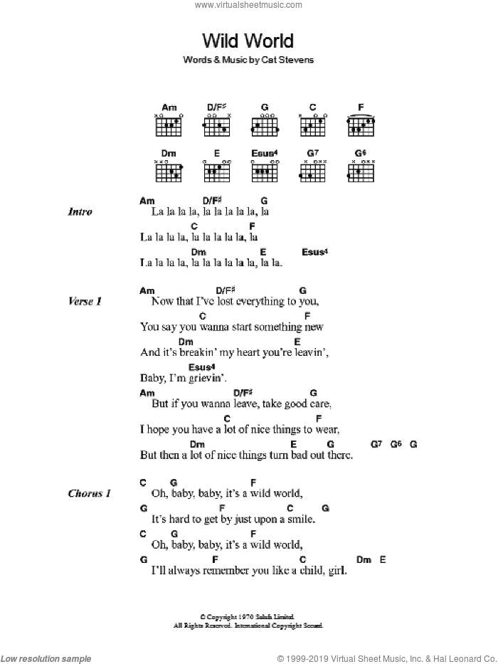 Wild World sheet music for guitar (chords) by Cat Stevens. Score Image Preview.