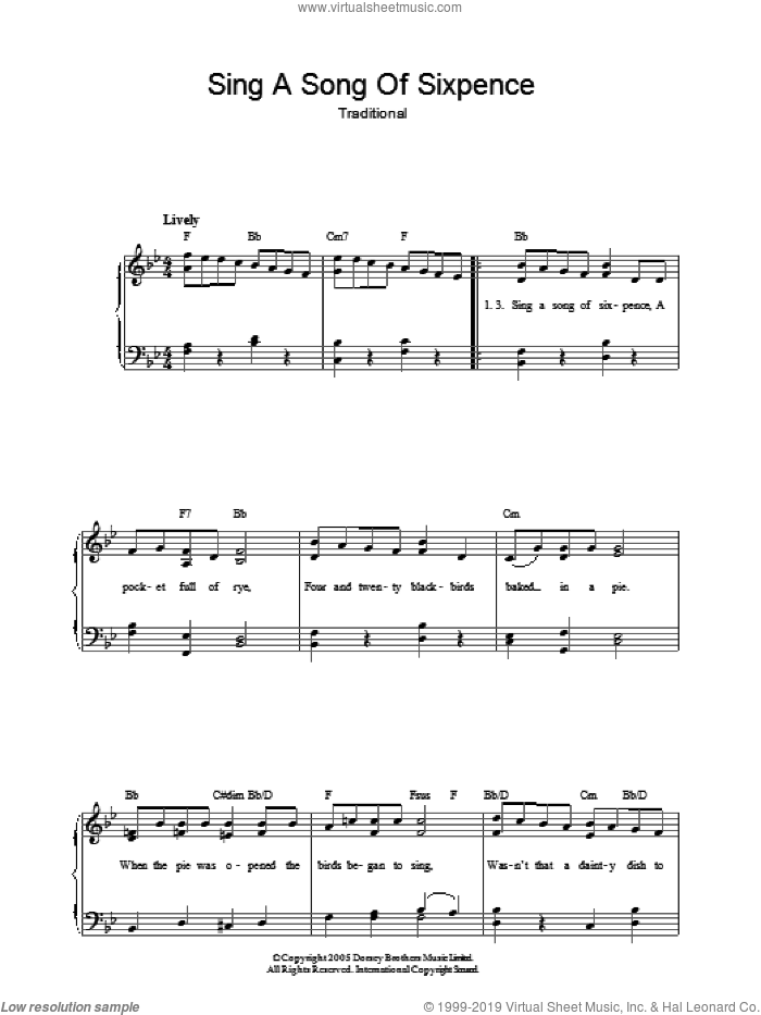 Sing A Song Of Sixpence sheet music for piano solo. Score Image Preview.