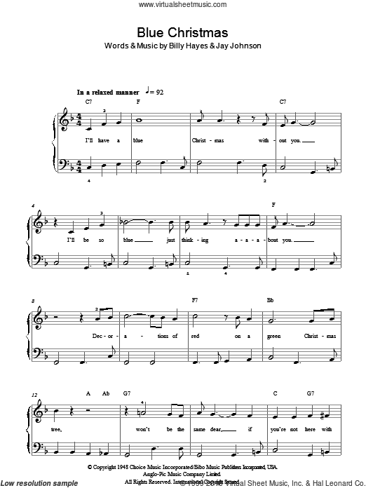 Blue Christmas sheet music for piano solo (chords) by Billy Hayes