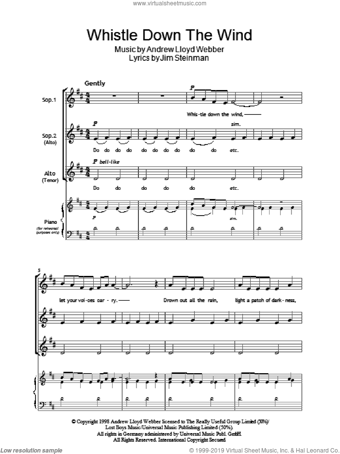 Whistle Down The Wind sheet music for choir (soprano voice, alto voice, choir) by Andrew Lloyd Webber and Jim Steinman. Score Image Preview.