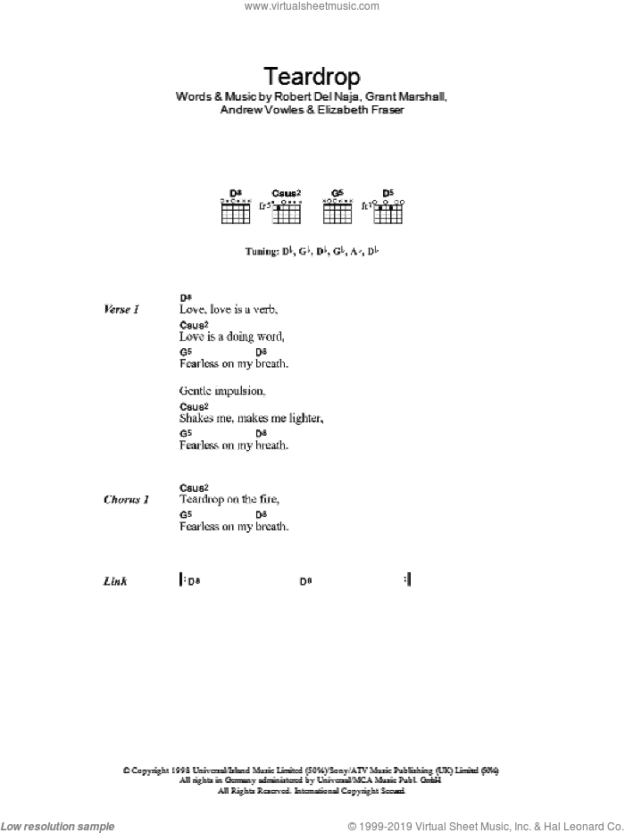 Teardrop sheet music for guitar (chords) by Newton Faulkner and Elizabeth Fraser. Score Image Preview.