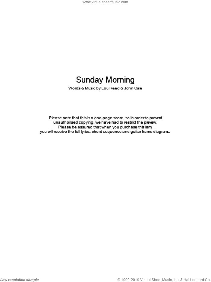 Sunday Morning sheet music for guitar (chords) by John Cale, The Velvet Underground and Lou Reed. Score Image Preview.