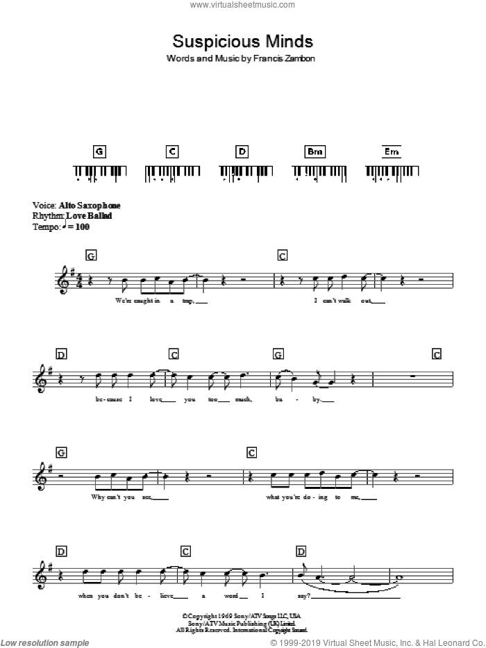 Suspicious Minds sheet music for piano solo (chords, lyrics, melody) by Francis Zambon and Elvis Presley. Score Image Preview.